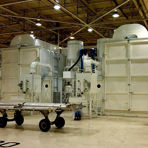 Complex Sandblasting blast room and sandblast & recovery equipment